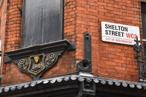 Mercer's Maiden, Shelton Street sign